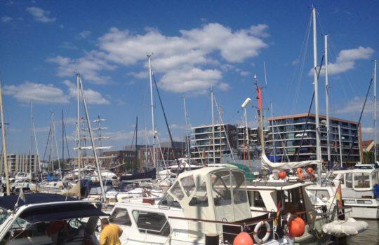 Kein Liegeplatz mehr frei im Neuen Hafen: die Schiffe werden mit Öko-Strom versorgt.