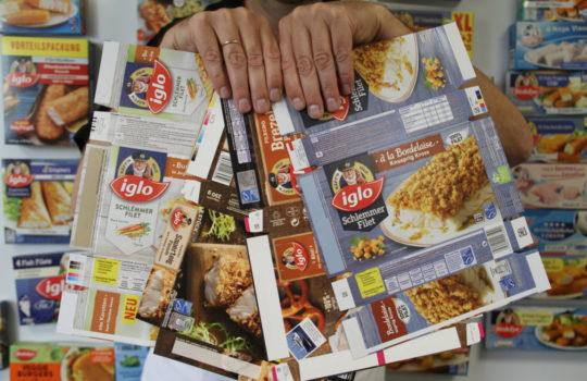 Sollen zukünftig noch nachhaltiger werden: Faltschachteln für Tiefkühlprodukte bei iglo. Foto: Helmut Stapel