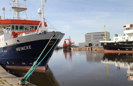 Geht vorerst nicht auf Fahrt zur Studentenausbildung: das AWI-Forschungsschiff Heincke. Foto: Helmut Stapel