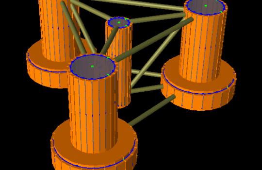 Eine Variante für ein schwimmendes Windturbinen-Fundament: der sogenannte Halbtaucher. Auf dem Zylinder in der Mitte würde in diesem Fall die Windenergieanlage montiert werden.  Grafik: IWES