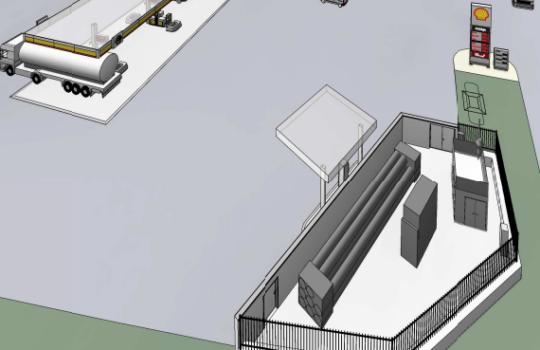 Für den Bremerhavener Stadtsüden an der Autobahn A 27 von der örtlichen Wasserstoff-Initiative in Planung: eine Wasserstofftankstelle. Grafik: H2BX