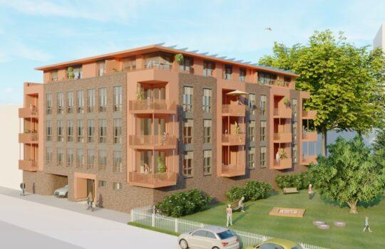 Bietet nachhaltiges Wohnen auf KfW40 Plus-Niveau: der Neubau in der Osterstraße. Visualisierung: JPS Architekten