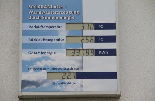 Volle Anzeige: Die Solaranlage im Betriebshof von Bremenports zur Warmwassererzeugung. Foto: Helmut Stapel
