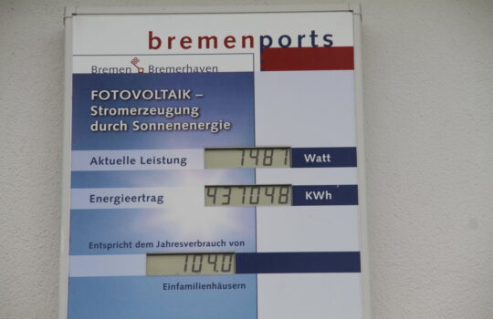 Nachhaltige Stromerzeugung bei bremenports.  Foto: Helmut Stapel
